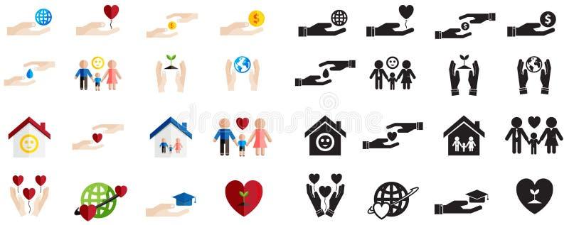 Divers type de silhouette et d'amusement coloré de charité et de donation illustration de vecteur