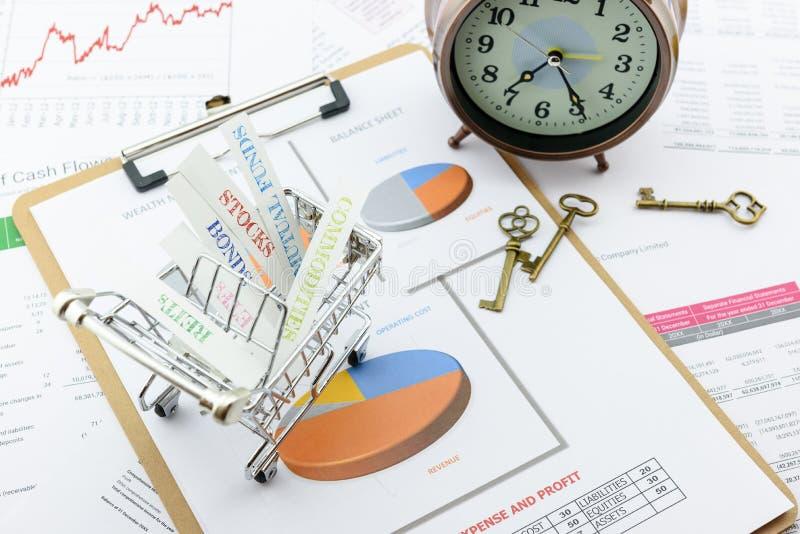 Divers type van financiële en investeringsproducten in een boodschappenwagentje royalty-vrije stock foto