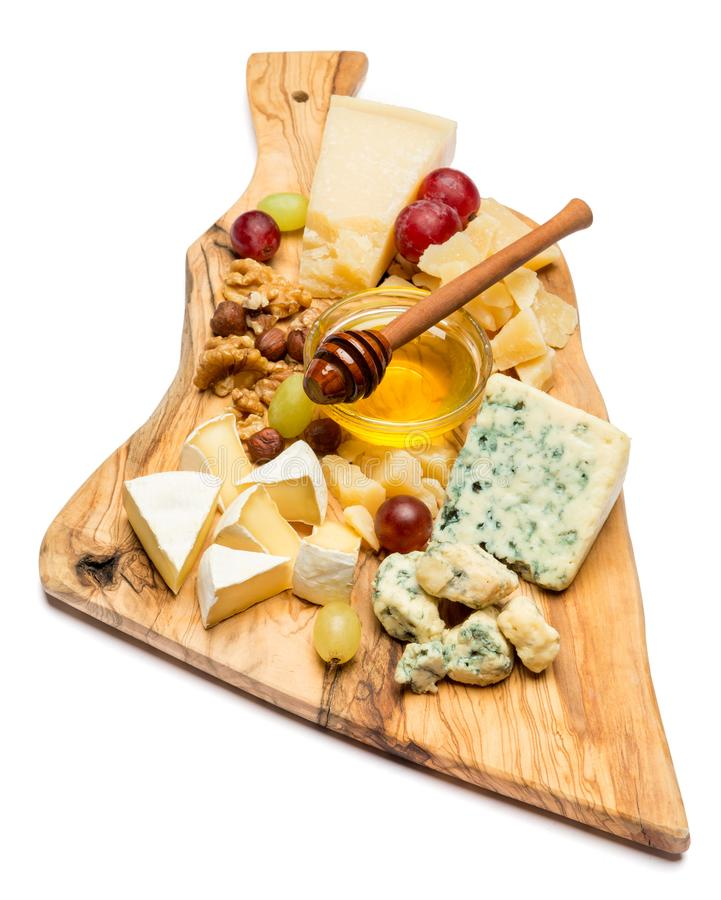 Divers types de fromage - brie, camembert, roquefort et cheddar photographie stock