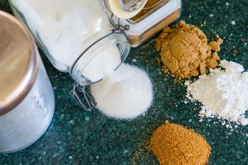 Divers types de sucres photographie stock