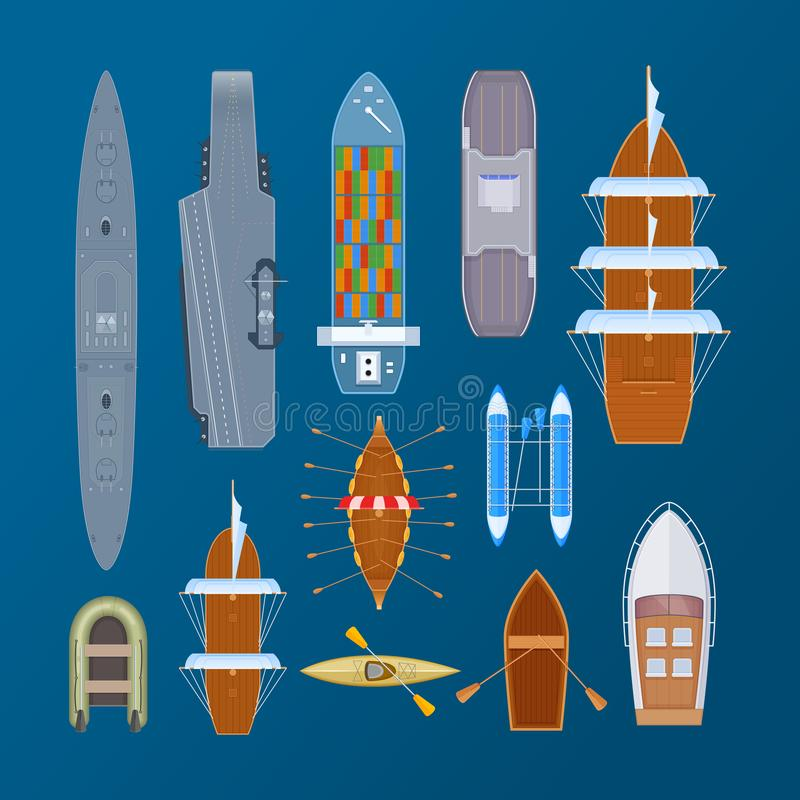 Divers types de transport d'eau de mer, militaires, cargos, ferries illustration libre de droits