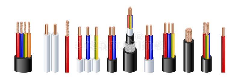 Divers types puissance, câbles acoustiques avec des conducteurs de fil électrique liés avec l'ensemble réaliste de gaine globale illustration de vecteur