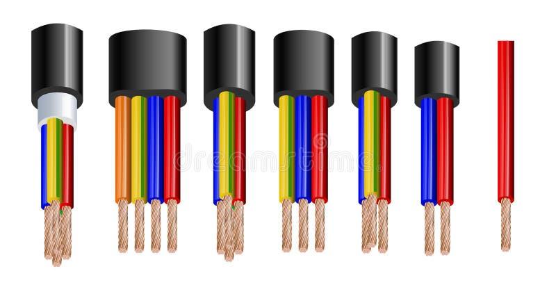 Divers types puissance, câbles acoustiques avec des conducteurs de fil électrique liés avec l'ensemble réaliste de gaine globale illustration stock