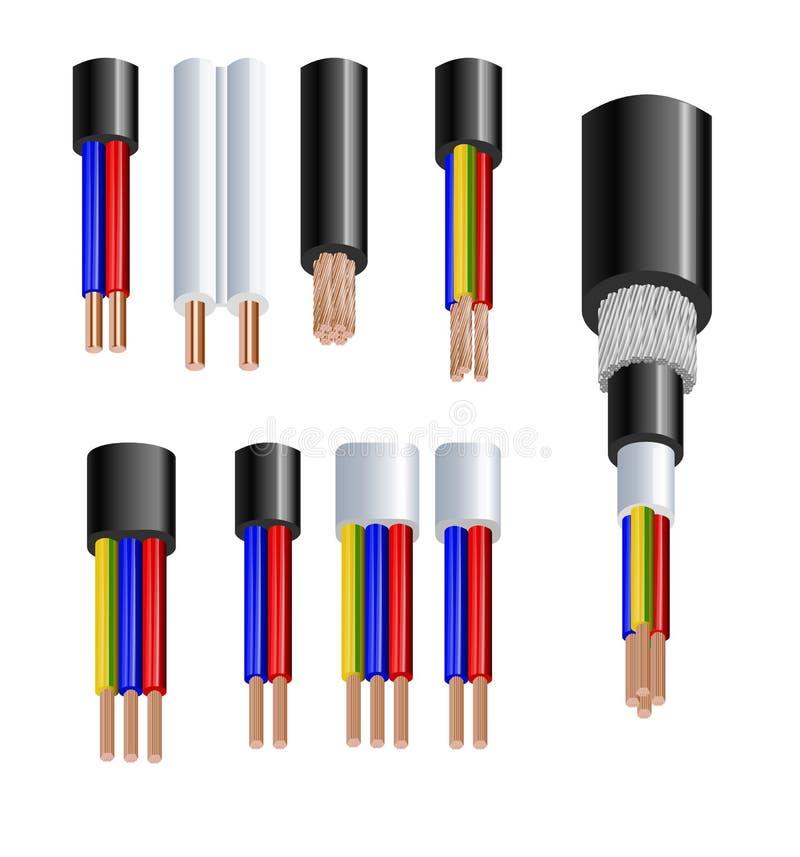 Divers types puissance, câbles acoustiques avec des conducteurs de fil électrique liés avec l'ensemble réaliste de gaine globale illustration libre de droits