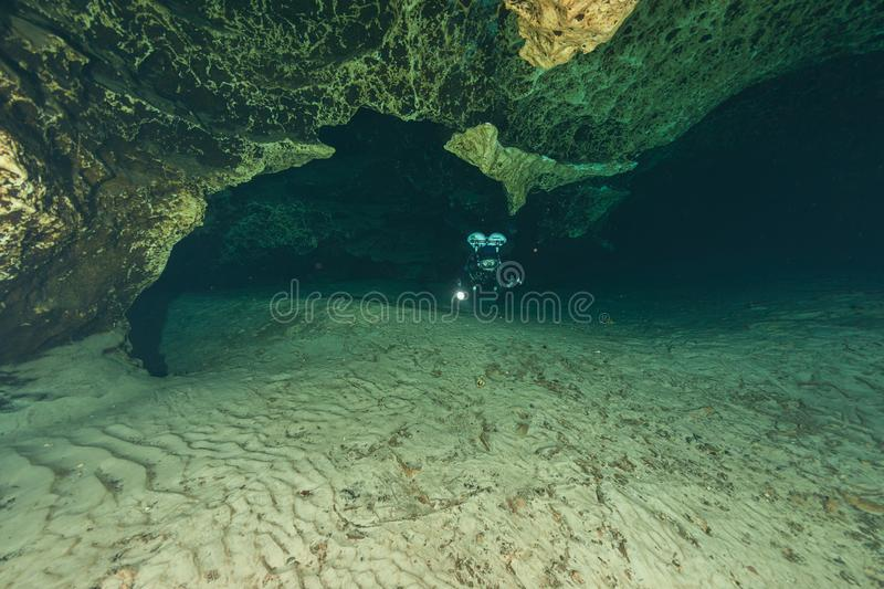 Divers underwater caves diving Ginnie Springs Florida USA stock image