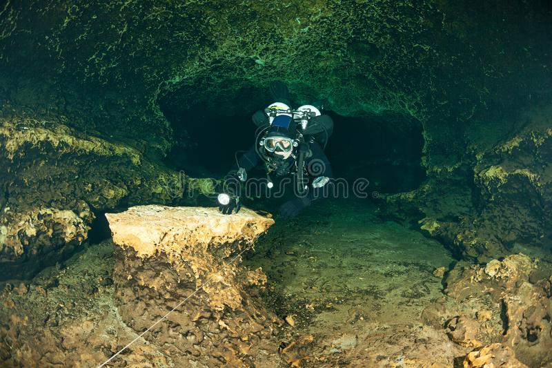 Divers underwater caves diving Florida Jackson Blue cave USA royalty free stock image