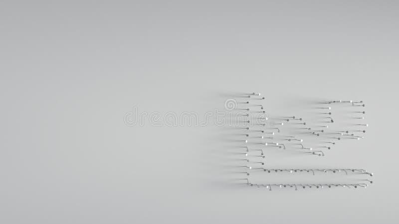 divers van metaalspijkers in vorm van lijndiagram stock afbeelding