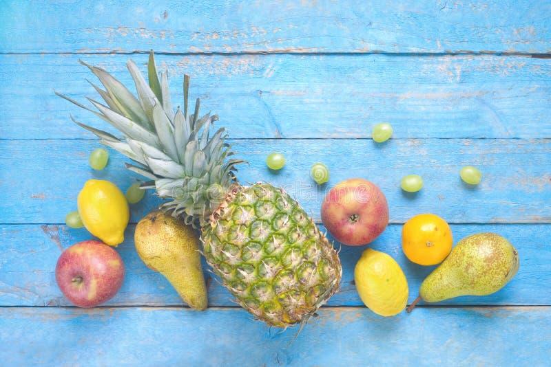 Divers vlak fruit, legt, gezonde nutition stock afbeelding