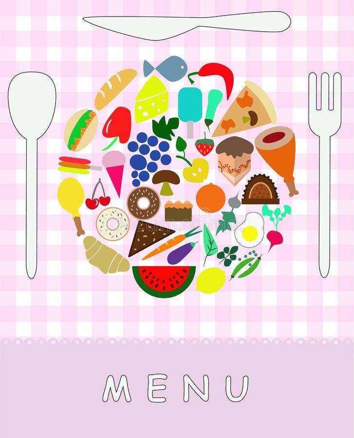 Divers voedsel die tot gevormde kleurrijke plaat leiden royalty-vrije illustratie