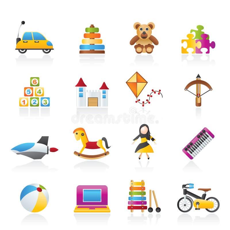Diversa clase de iconos de los juguetes libre illustration