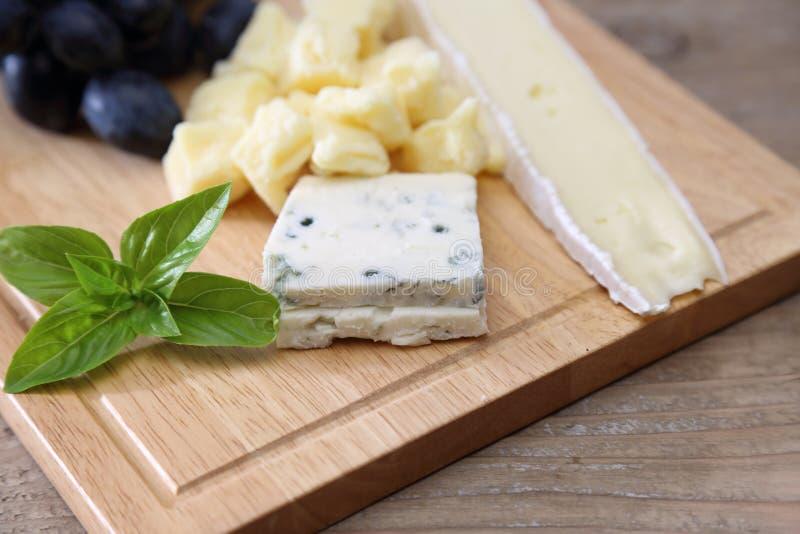 Diversa clase de queso y de uva en una tabla de cortar fotografía de archivo libre de regalías