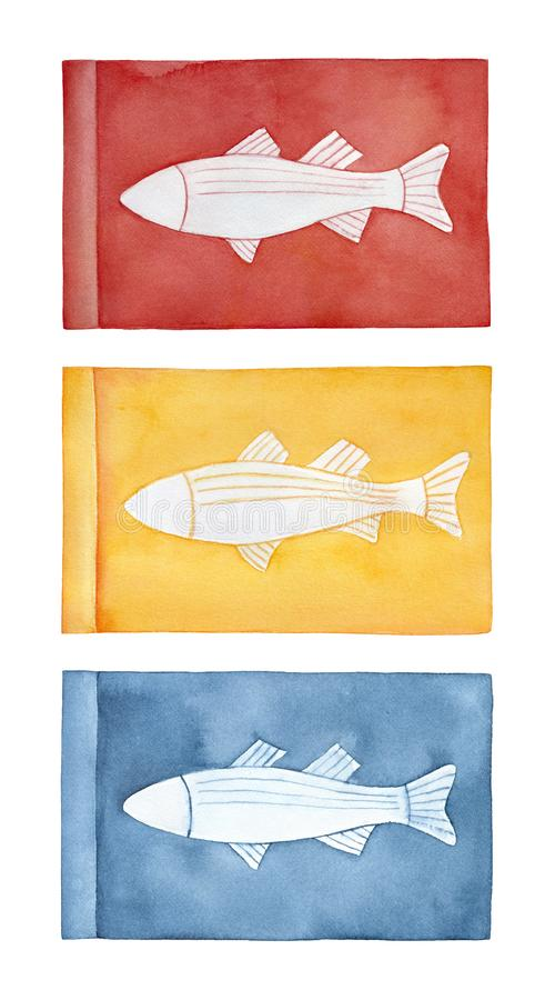 Diversa colección de las banderas con la silueta hermosa de los pescados libre illustration