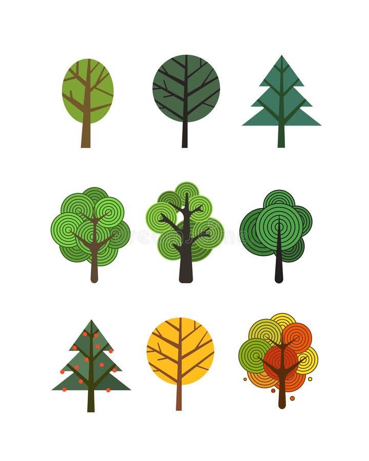 Diversa colección de los árboles aislada en blanco libre illustration