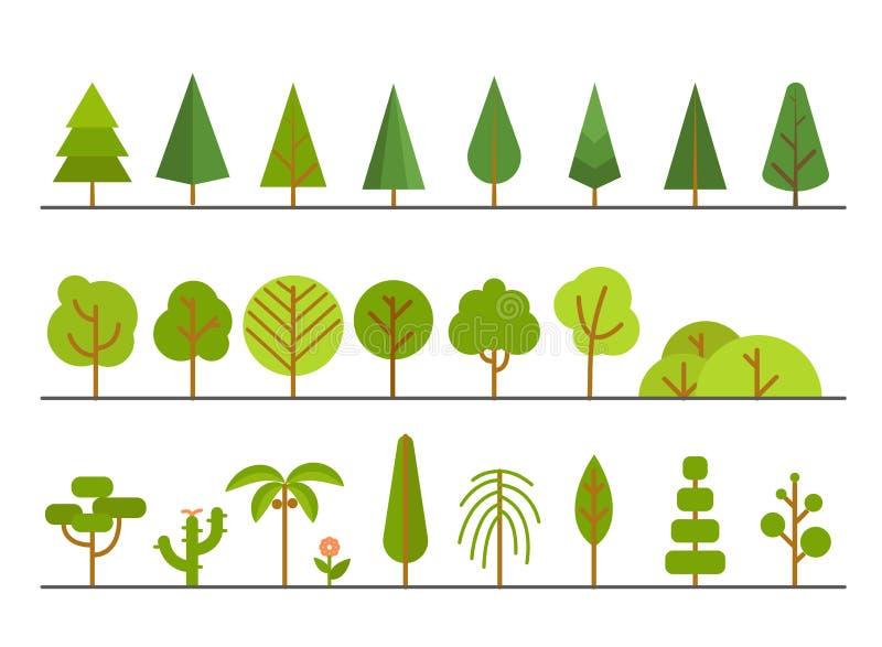 Diversa colección de los árboles Diseño de Lineart stock de ilustración