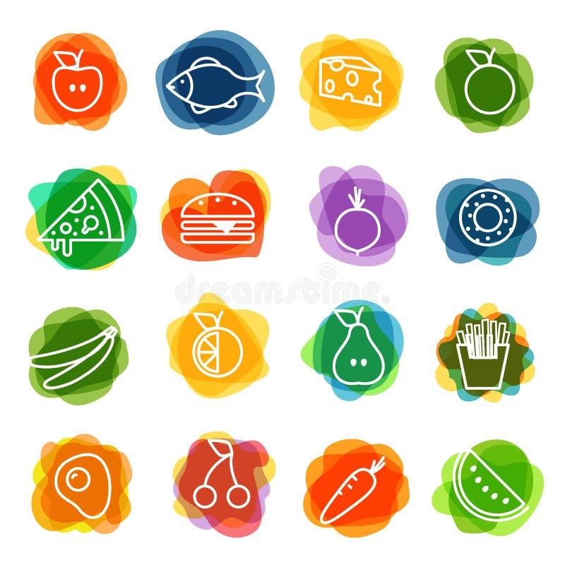 Diversa colección de los iconos de la silueta de la comida stock de ilustración