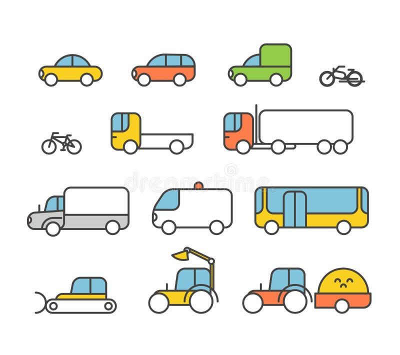 Diversa colección de los iconos de la silueta del transporte stock de ilustración