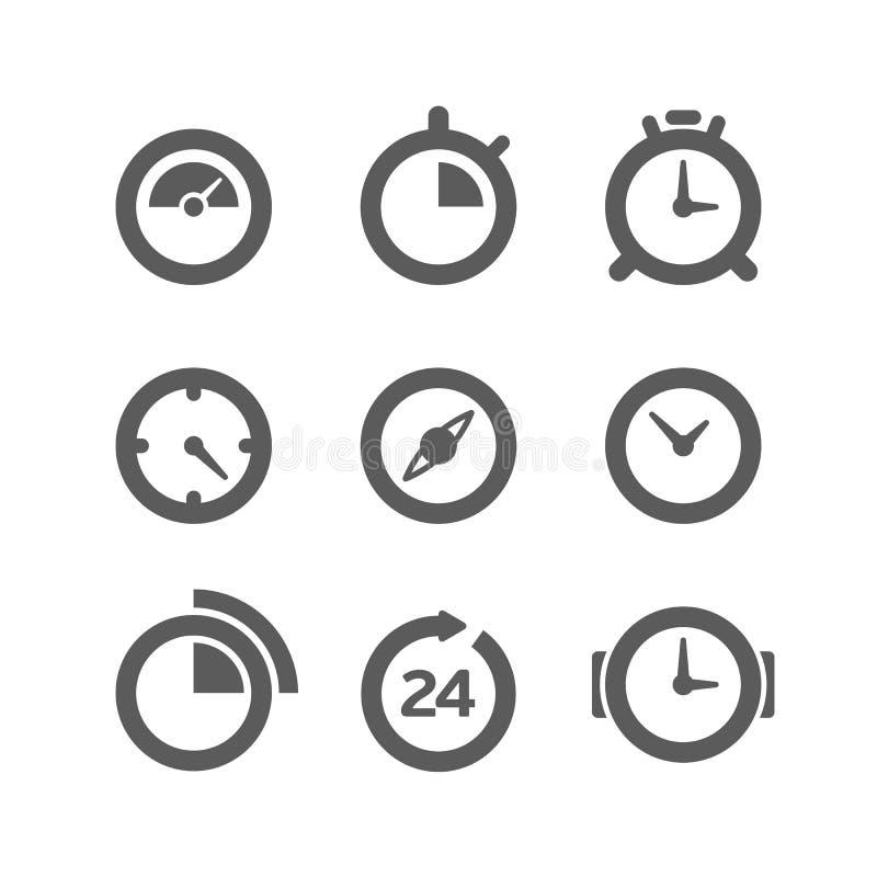 Diversa colección de los relojes ilustración del vector