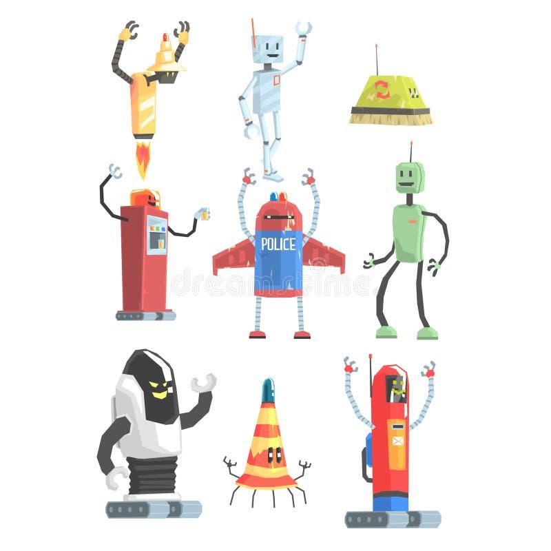 Diversa colección de los robots del servicio público del diseño de androides coloridos de la historieta ilustración del vector