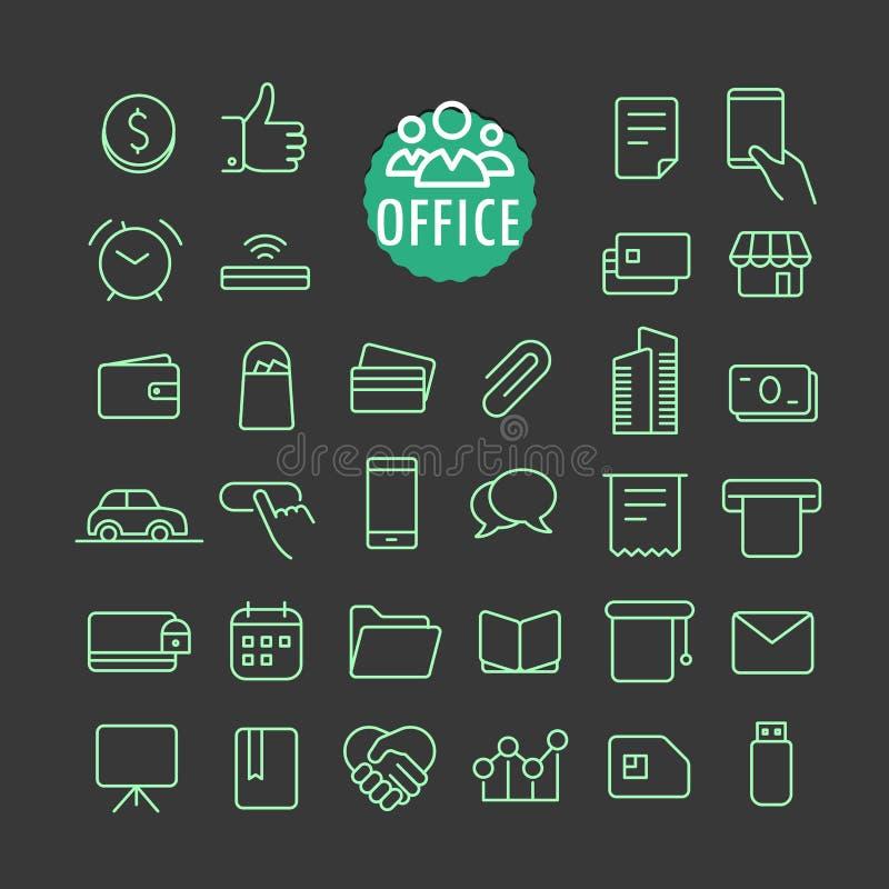 Diversa colección del vector de los iconos de la oficina stock de ilustración