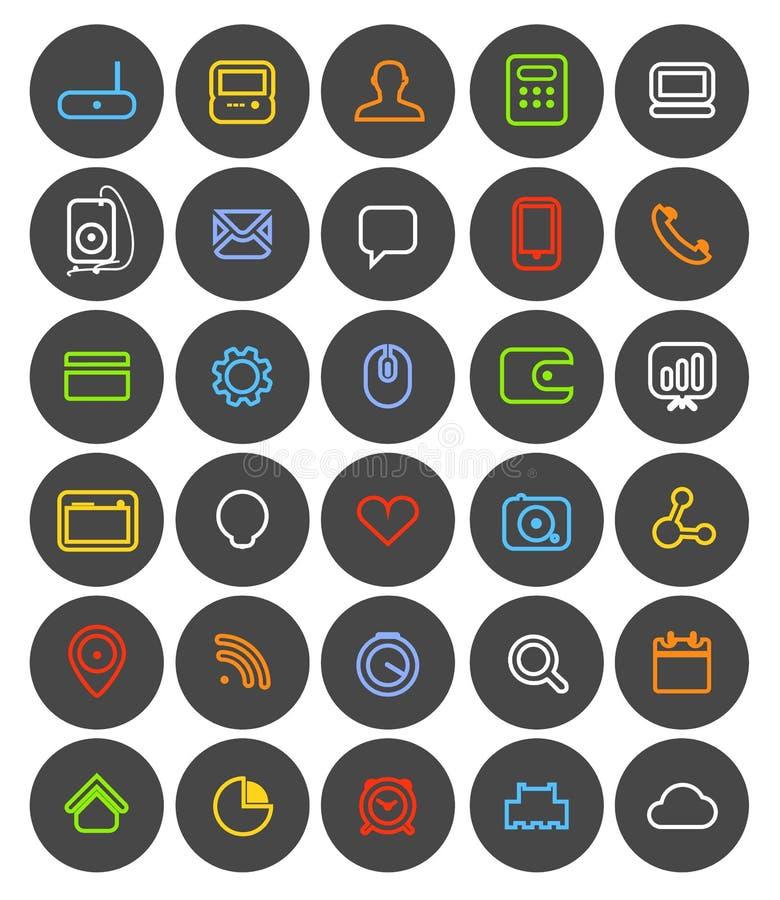 Diversa colección simple de los pictogramas de la navegación del web ilustración del vector
