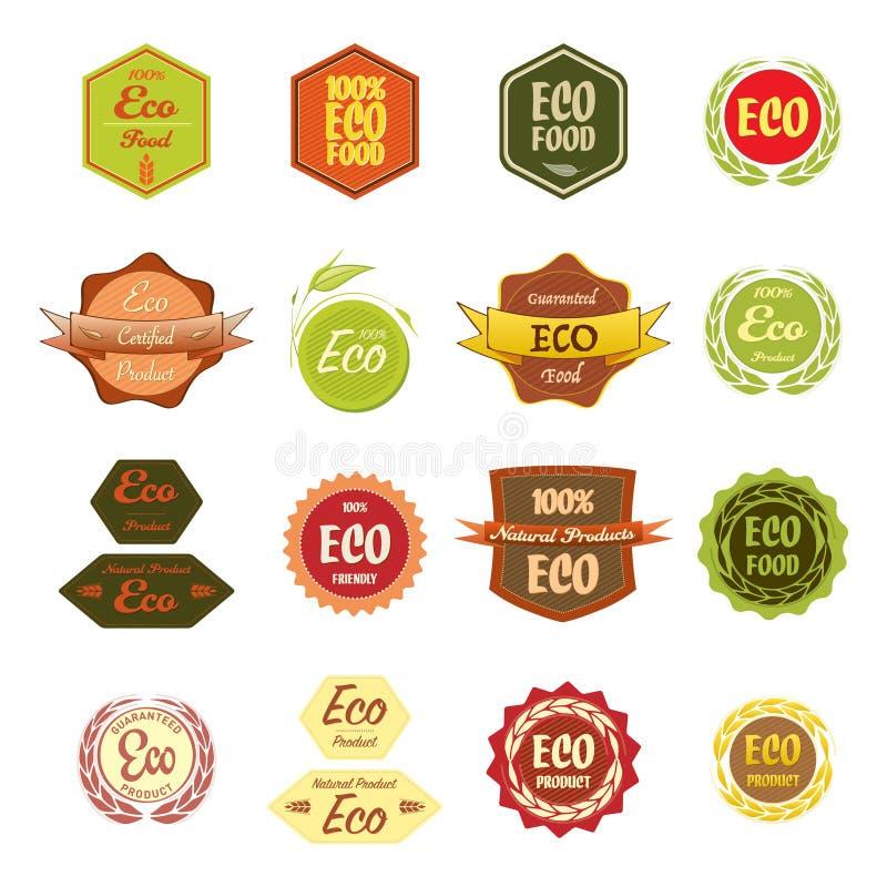 Diversa comida de Eco de las etiquetas stock de ilustración