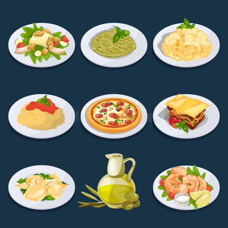 Diversa comida de la cocina italiana Pastas, pizza y otras Conjunto de la ilustración del vector stock de ilustración