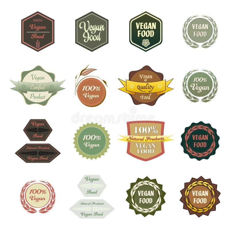 Diversa comida del vegano de las etiquetas ilustración del vector