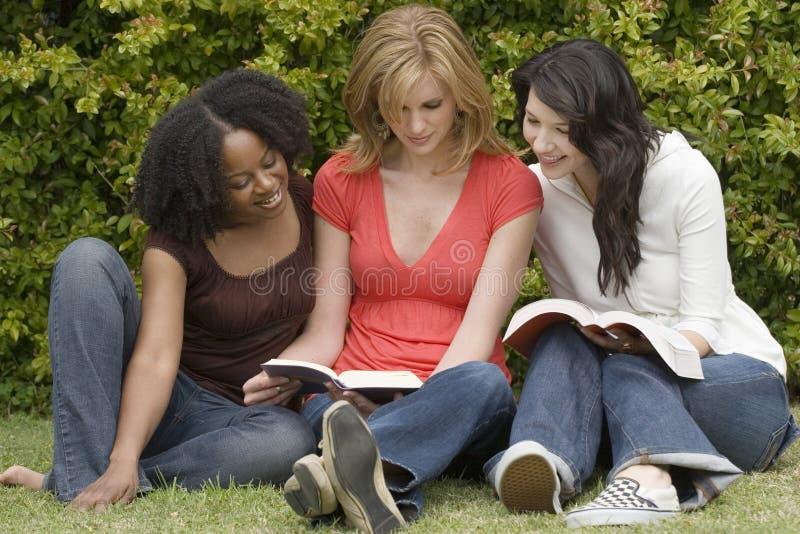 Diversa donna in una piccola lettura del gruppo fotografia stock