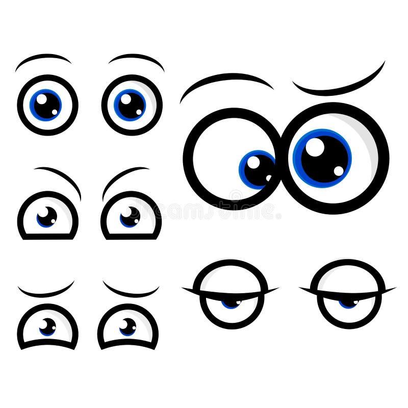 Diversa expresión del ojo cinco, curioso, soñoliento, ansioso, impaciente, confunde, enojado aislado en blanco ilustración del vector