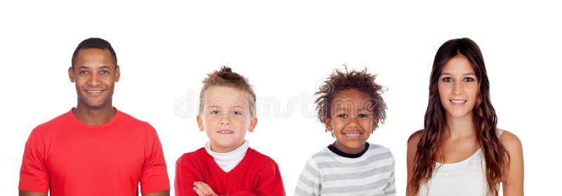 Diversa familia con dos niños fotos de archivo libres de regalías