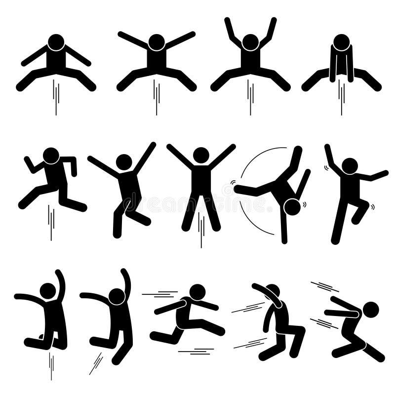 Diversa figura iconos del palillo de Jumper Human Man People Jumping del pictograma de Stickman ilustración del vector