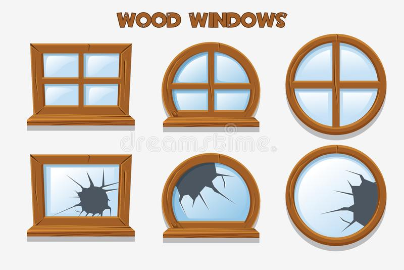 Diversa forma y ventanas de madera rotas viejas, objetos del edificio de la historieta Interiores caseros del elemento libre illustration