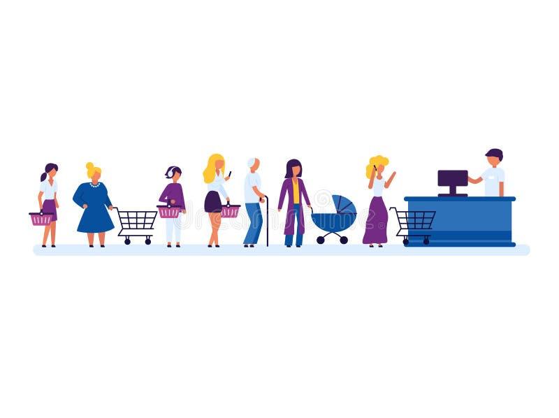 Diversa gente de los caracteres de la historieta que espera en cola larga Vector stock de ilustración