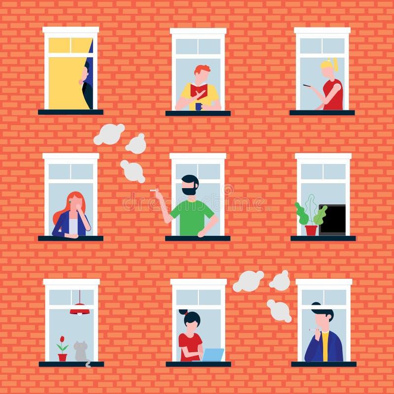 Diversa gente en sus ventanas detrás del ejemplo plano del vector del estilo de los caracteres de la pared de ladrillo libre illustration