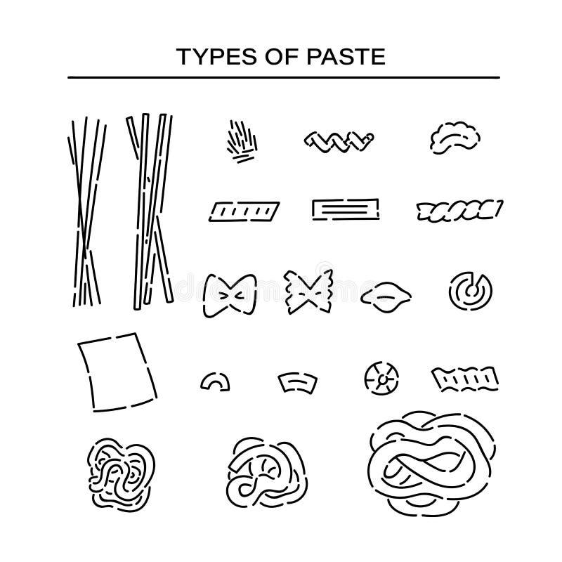 Diversa línea de productos fijada de las pastas iconos del garabato Las variedades forman el negro del bosquejo del vector de la  libre illustration