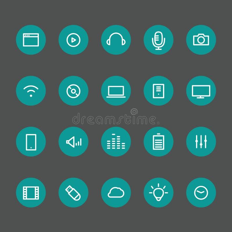 Diversa línea iconos del estilo en los círculos de color fijados libre illustration