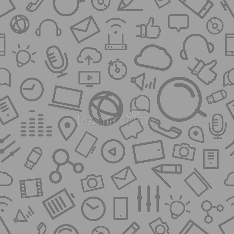 Diversa línea modelo inconsútil de los iconos del estilo stock de ilustración