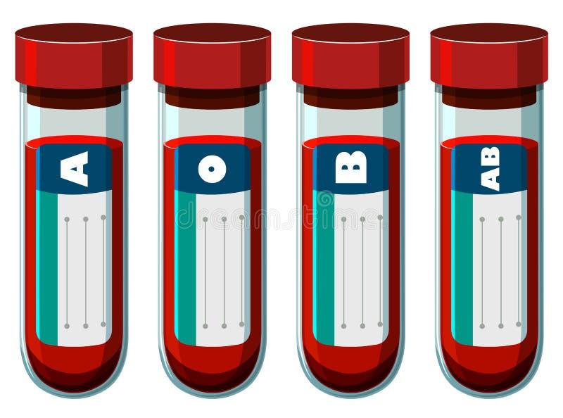 Diversa sangre mecanografía adentro el tubo de ensayo ilustración del vector