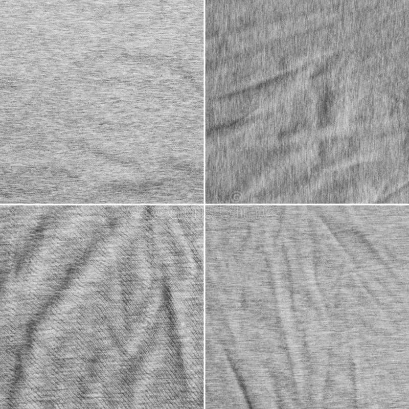 Diversa textura cuatro de una tela gris con el modelo rayado delicado fotos de archivo libres de regalías
