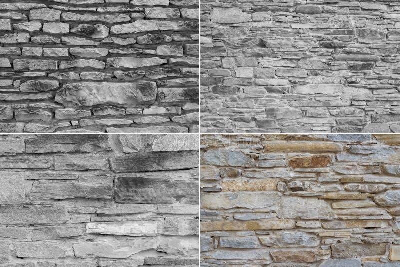 Diversa textura de alta calidad de la pared de piedra cuatro foto de archivo