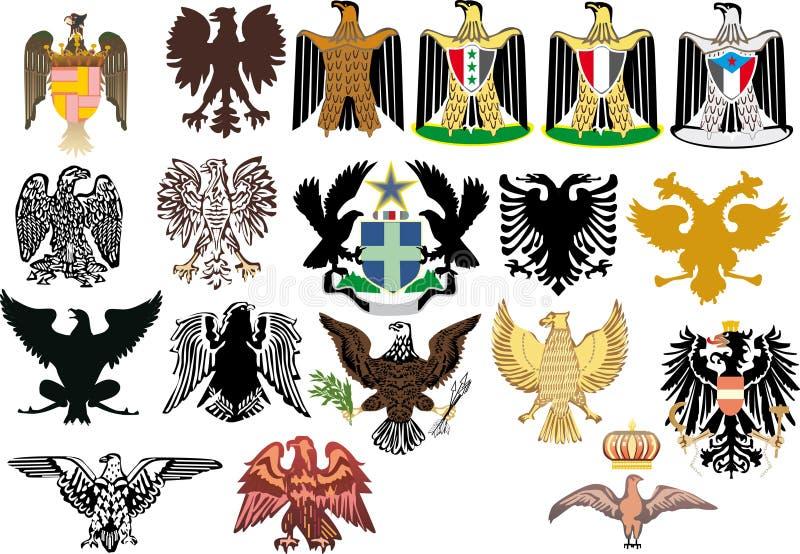 Diversas águilas heráldicas en blanco libre illustration