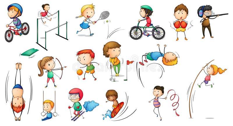 Diversas actividades de los deportes stock de ilustración