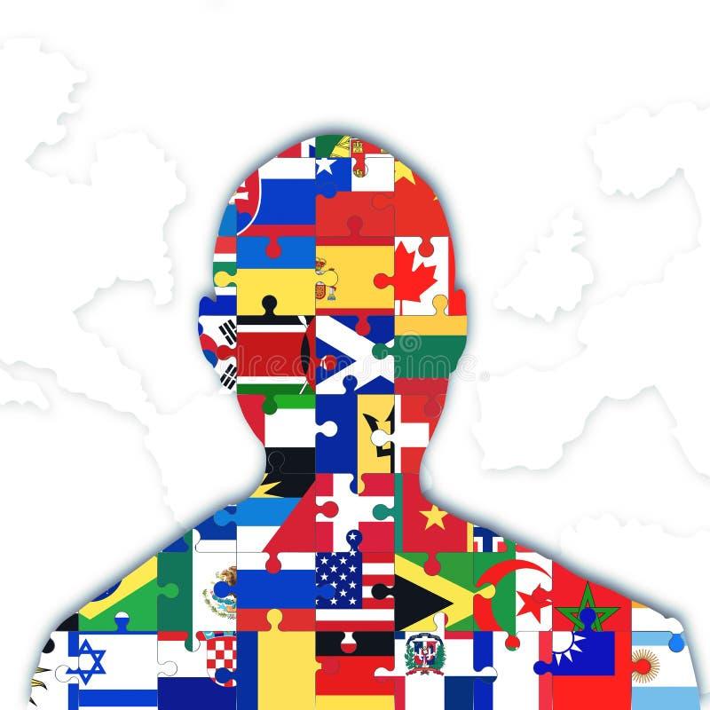 Diversas banderas de la integración ilustración del vector