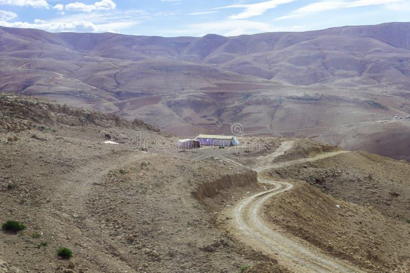 Diversas barracas beduínas no deserto perto da capital de Jordânia - Amman foto de stock