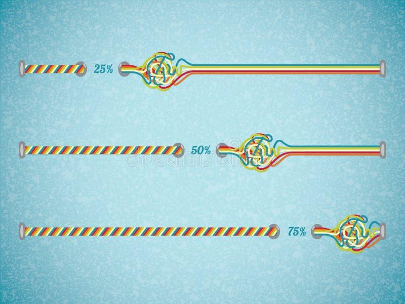 Diversas barras de progreso del vector del color. stock de ilustración