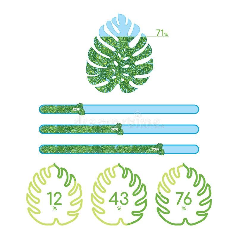 Diversas barras de progreso verdes con las hojas tropicales libre illustration