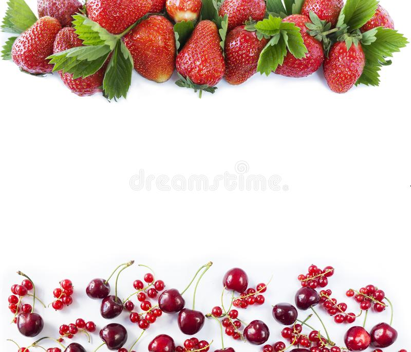 Diversas bayas frescas del verano Fresas maduras, pasas rojas y cerezas en el fondo blanco Visión superior Bayas en la frontera d foto de archivo
