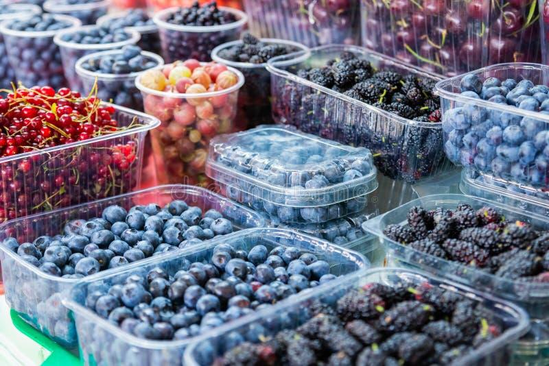 Diversas bayas frescas en los envases de plástico almacenados en el ultramarinos verde Ingredientes naturales del alimento biológ foto de archivo libre de regalías