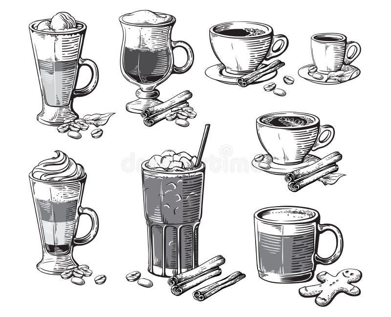 Diversas bebidas del café aisladas Latte glace del americano del frappe irlandés del cacao de la moca del ristretto del chocolate ilustración del vector