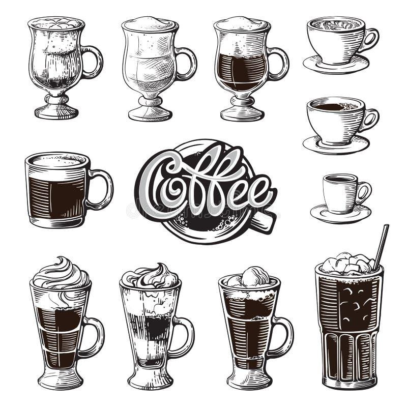 Diversas bebidas del café aisladas Latte glace del americano del frappe irlandés del cacao de la moca del ristretto del chocolate stock de ilustración